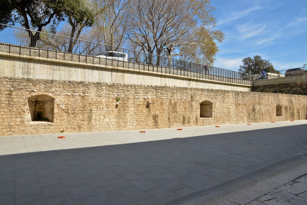 Medieval wall in front of the building