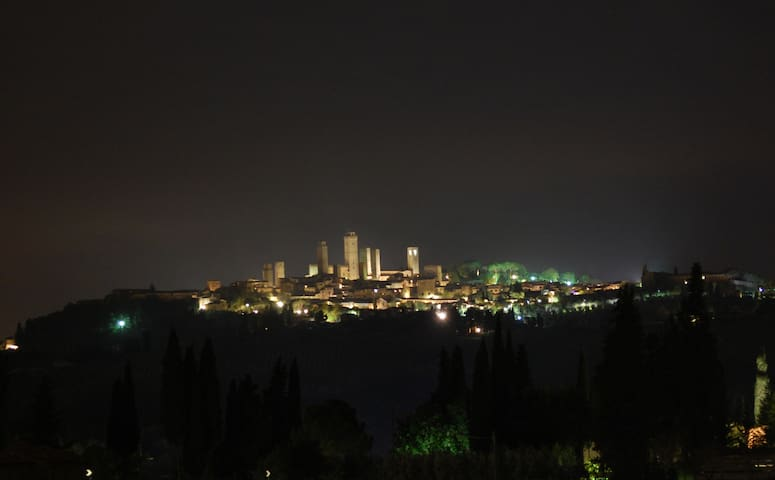 San Gimignano by night from the lounge. Shot telephoto lens.