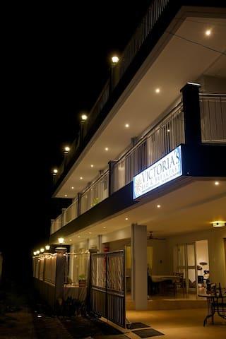 Entrance at night