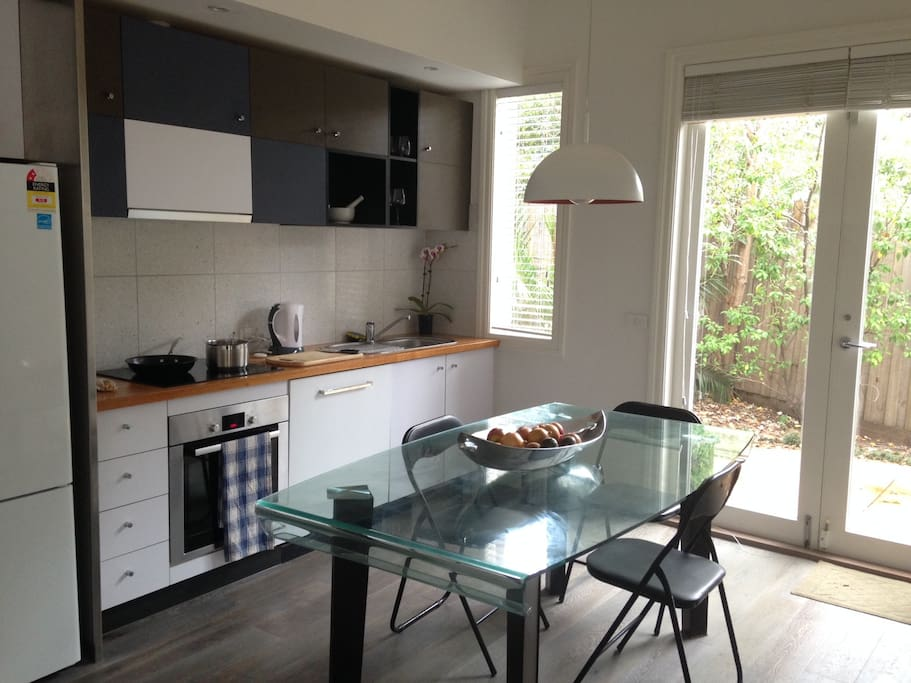 All the modern commodities, well equipped kitchen, opens up to the garden