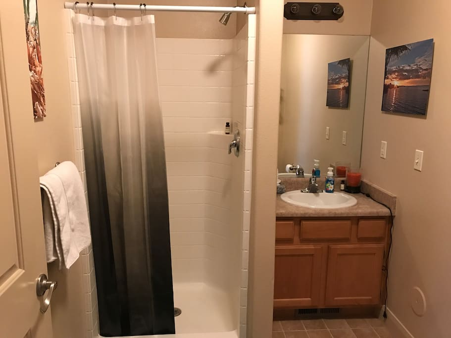 You will have your own bathroom with a stand-up shower (no tub)