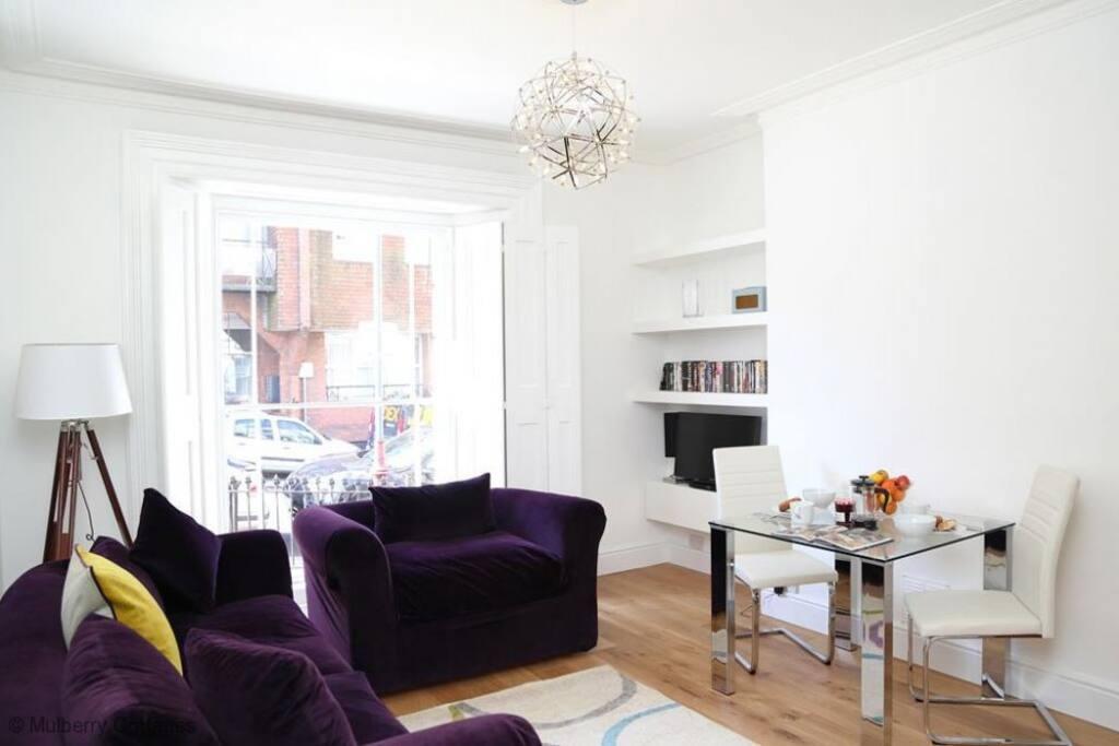 Contemporary light and sunny living room.
