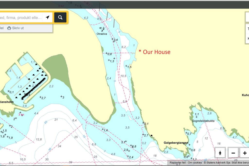 Sea map Kristiansand harbour and our house.