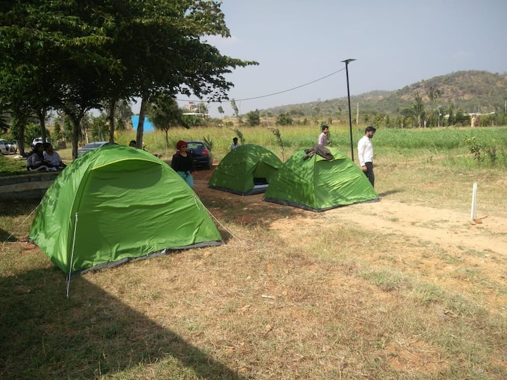Camping in the farm, amidst nature
