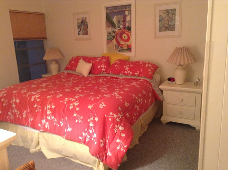Comfy pillow top mattress in Master bedroom and flat screen tv