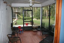 Screened in back porch is the best place to hang out in the cool winter months.