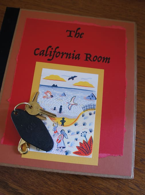Your guidebook! You'll find helpful information about The California Room and helpful hints to aid you in navigating the area