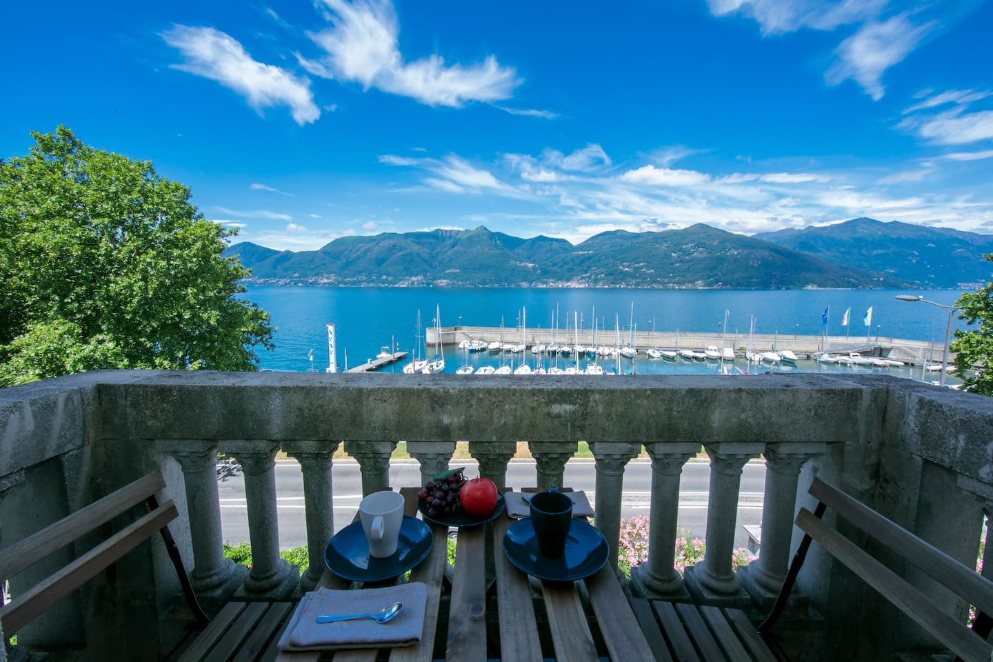 View from the balcony on the lake and the harbor of Luino