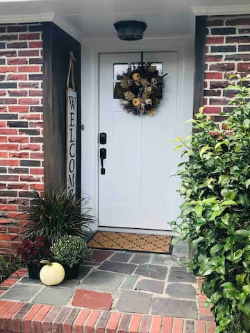 Keyless front door entry with a motion sensor light.