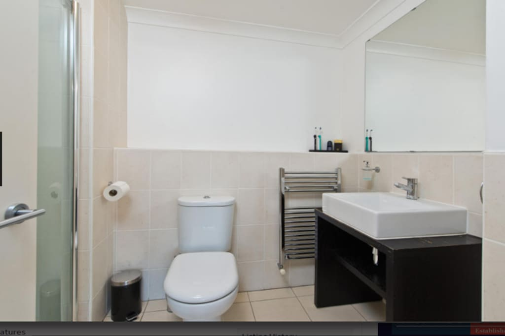 Ensuite bathroom with separate shower area, heated towel rod