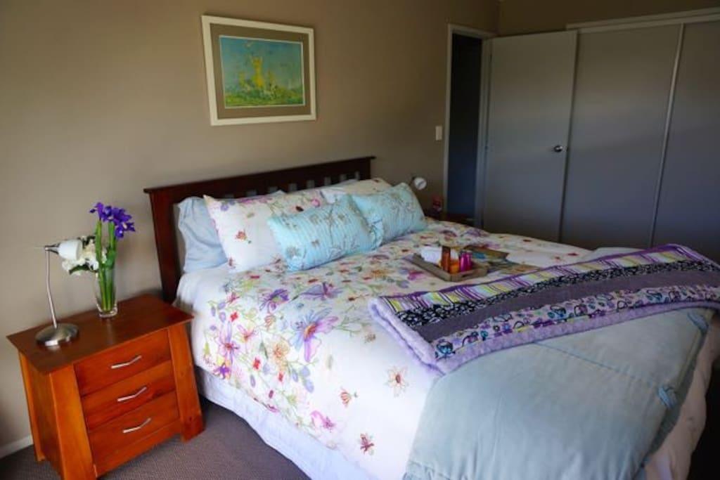 Your relaxing queen bed.