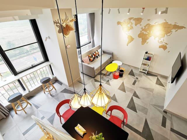Nordic style loft apartment near Dinosaur Land