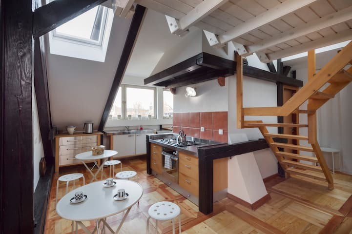 The open plan kitchen with wonderful views of Ljubljana's castle.