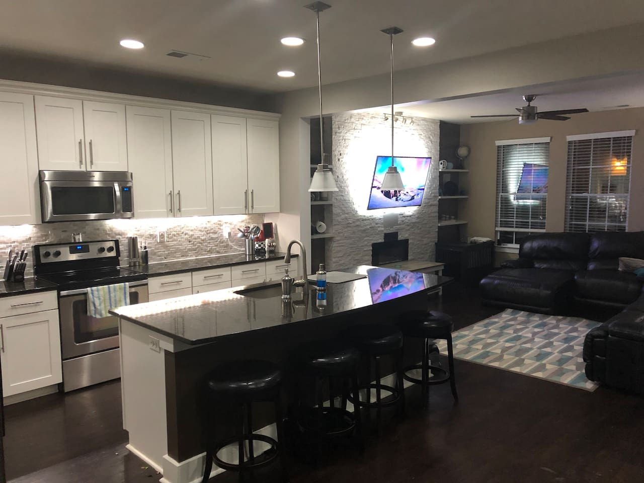 This is the kitchen and living room...the lights are customizable (see other kitchen photos)