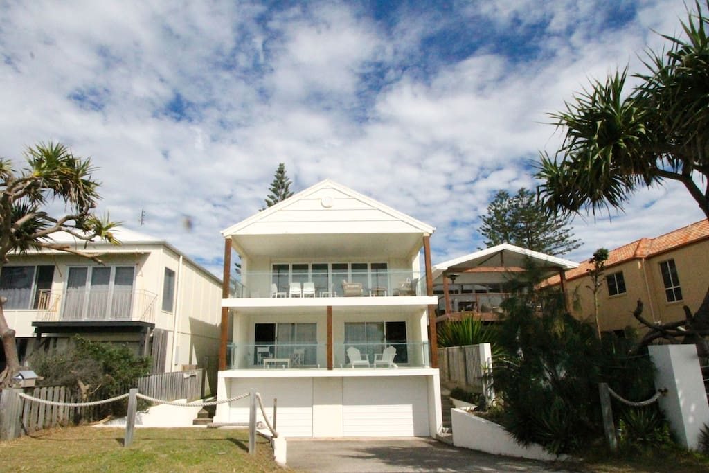 Street frontage with basement 2 car garage and 2 levels of living
