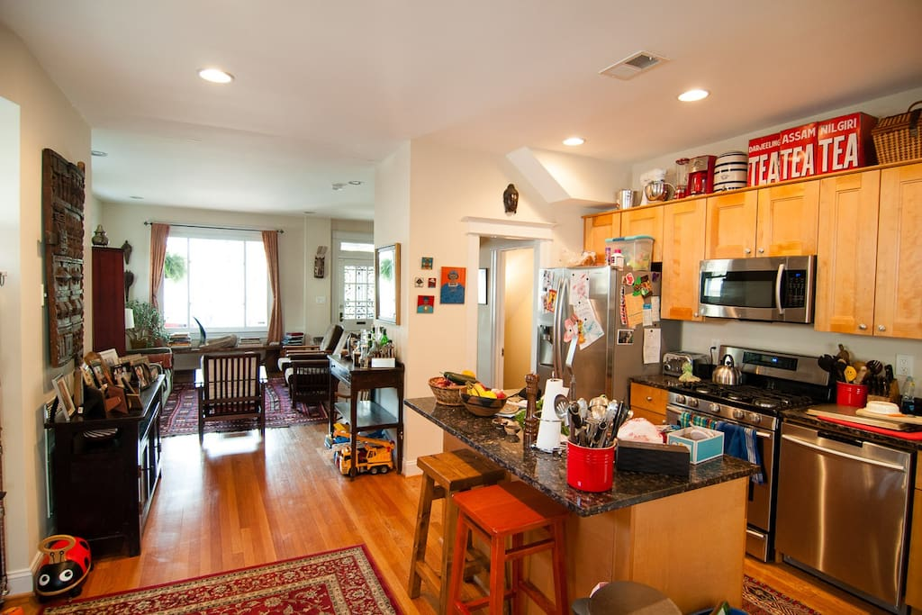 The open concept is lovely for larger groups. You'll find everything you need to cook up a feast in our gourmet kitchen.