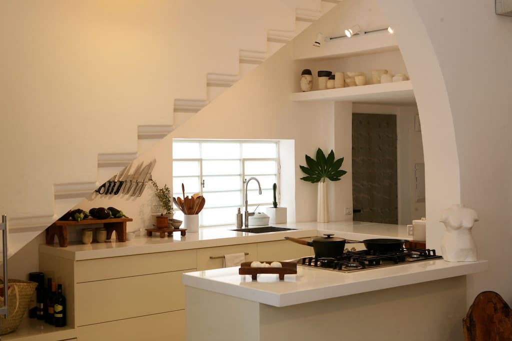 modern clean and wide kitchen with comfortable working space and fine Miele appliances