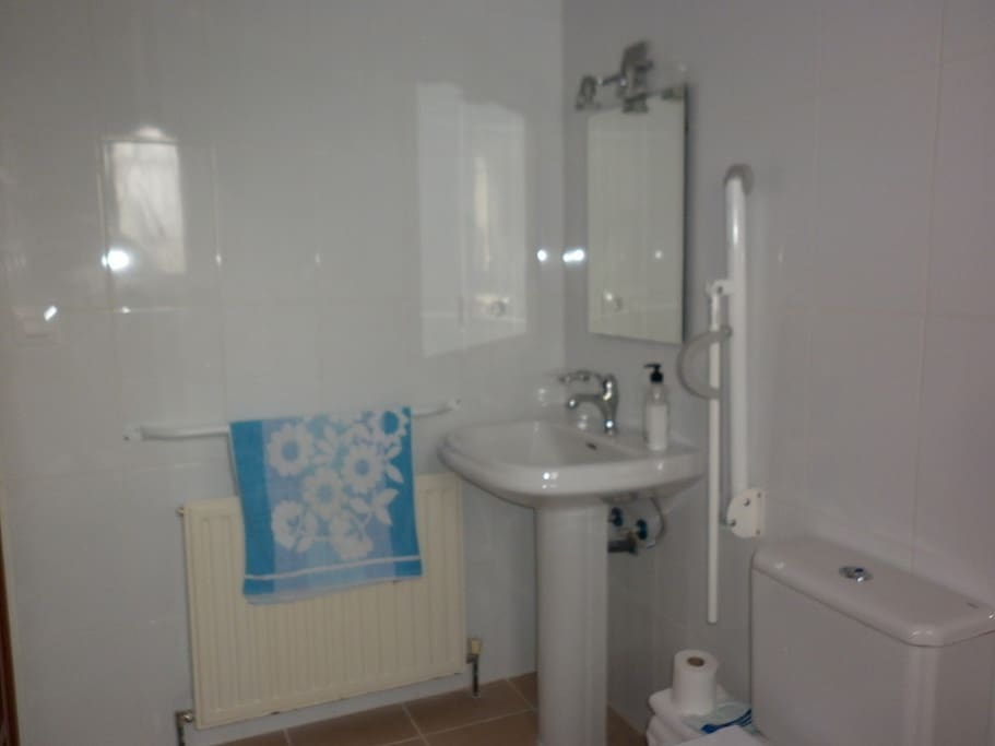 Bathroom is suitable for the disabled with grab rails