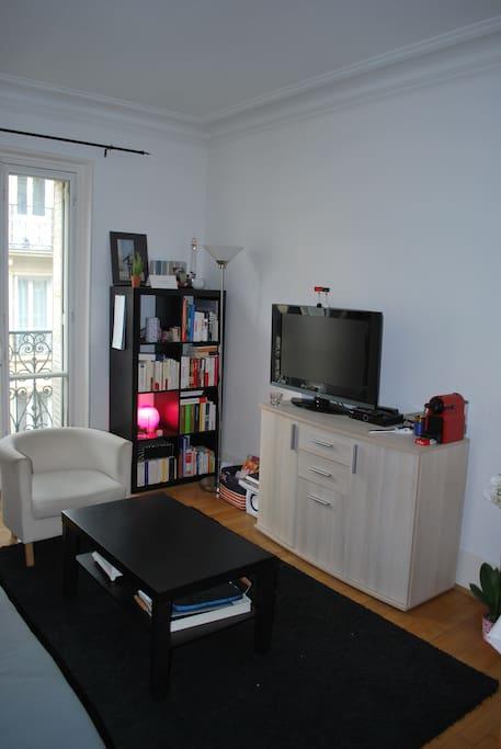 Le salon, coin TV et bibliothèque