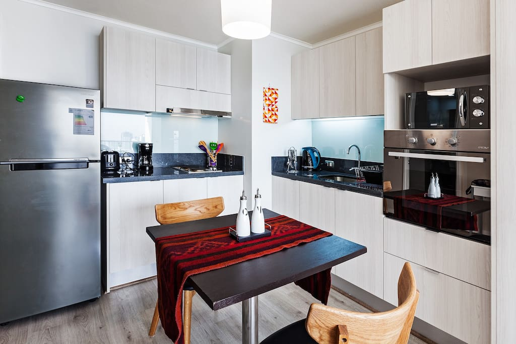Very well distributed kitchen and dinner space