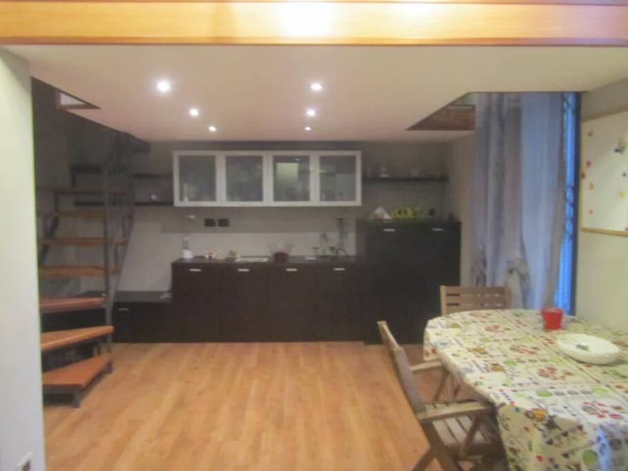 Kitchen with the room in top