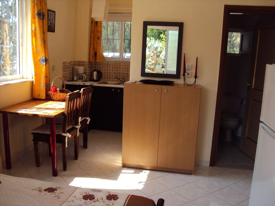 Kitchenette facilities and the bathroom