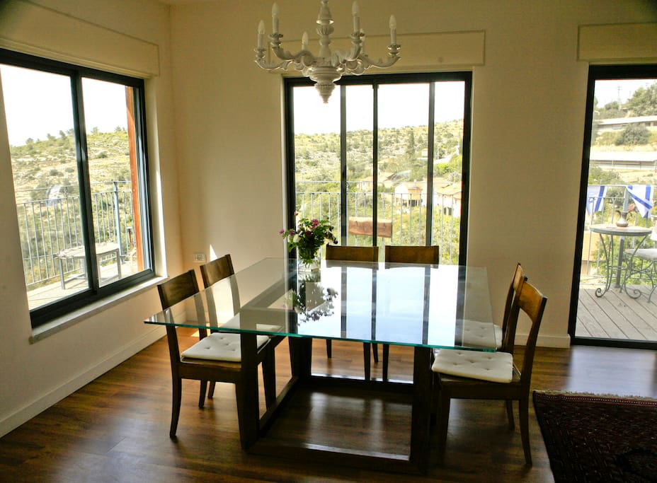 the dining table with a panoramic view
