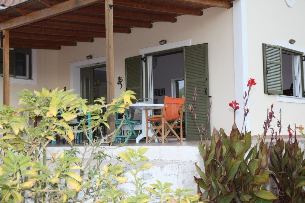 Large shady veranda, perfect place to relax after a day exploring Cephalonia.