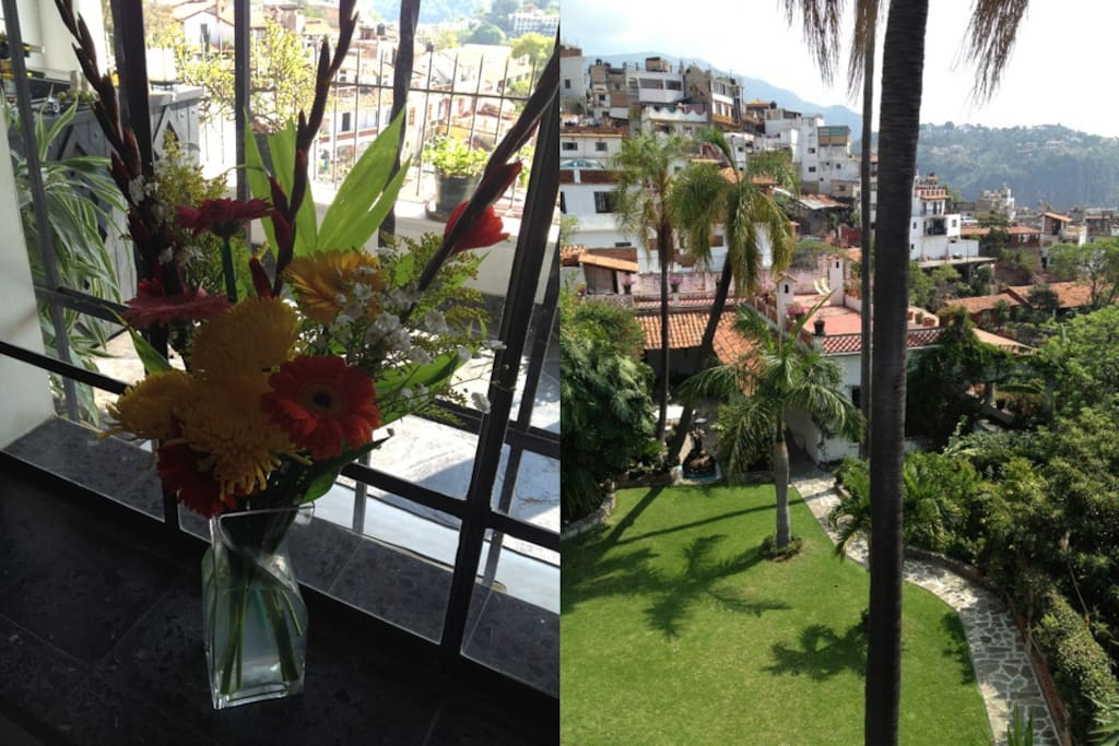 Flowers in your room and fantastic views on the property