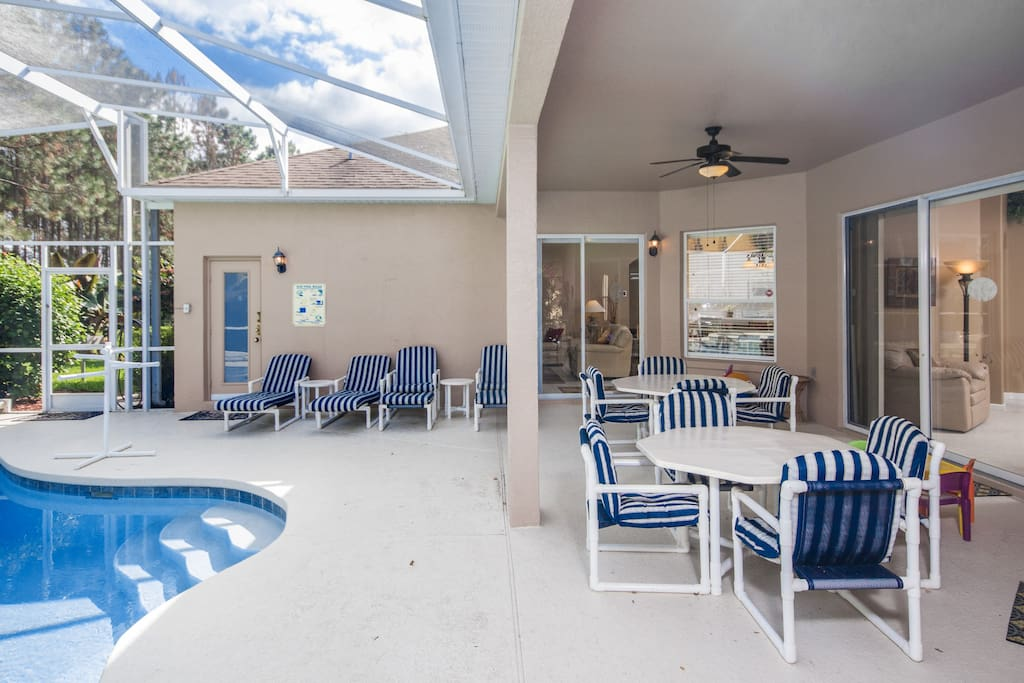 Covered Lanai w/grill & multiple access - perfect for entertaining