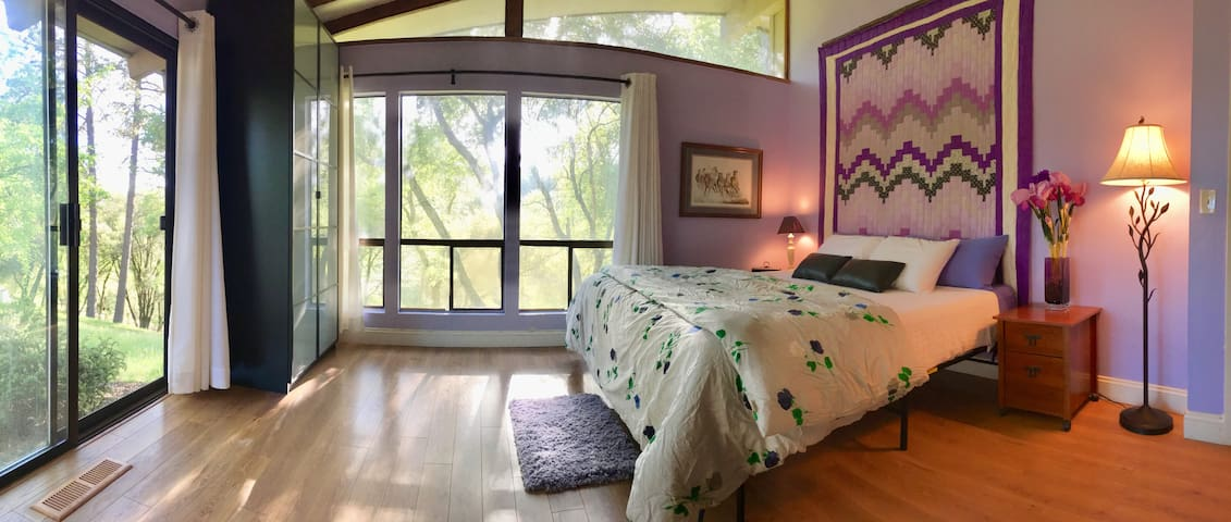 The second bedroom is a huge room with a King Sized Bed and lots of wonderful natural light