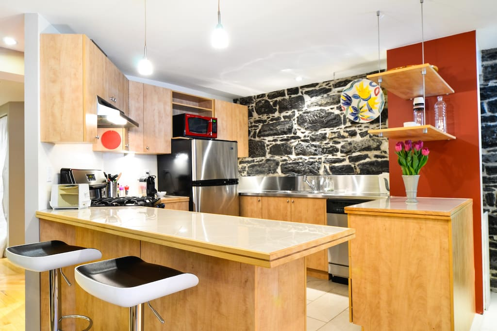 Open kitchen separeted by a counter