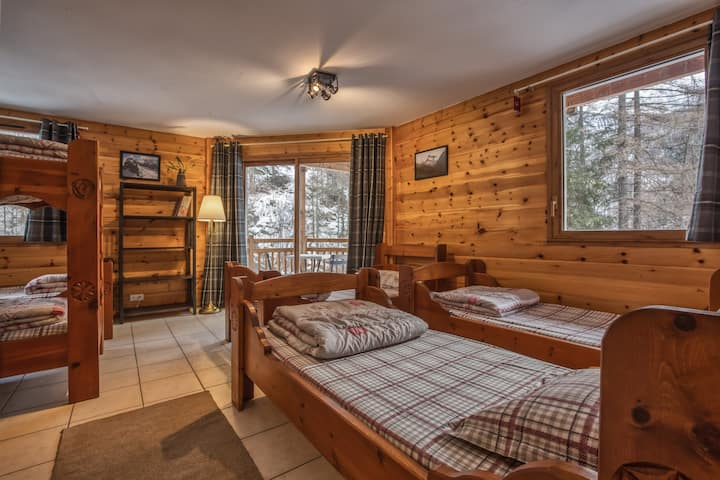 Bed in dormitory mountain view