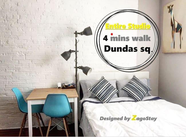 5mins to Dundas sq. Core DT Toronto/ Entire Studio