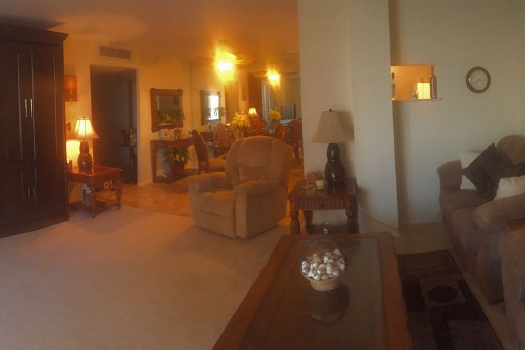 Panoramic view of main living area and dining area