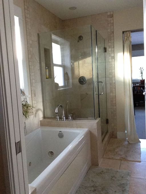Master bath has a jetted tub and separate shower