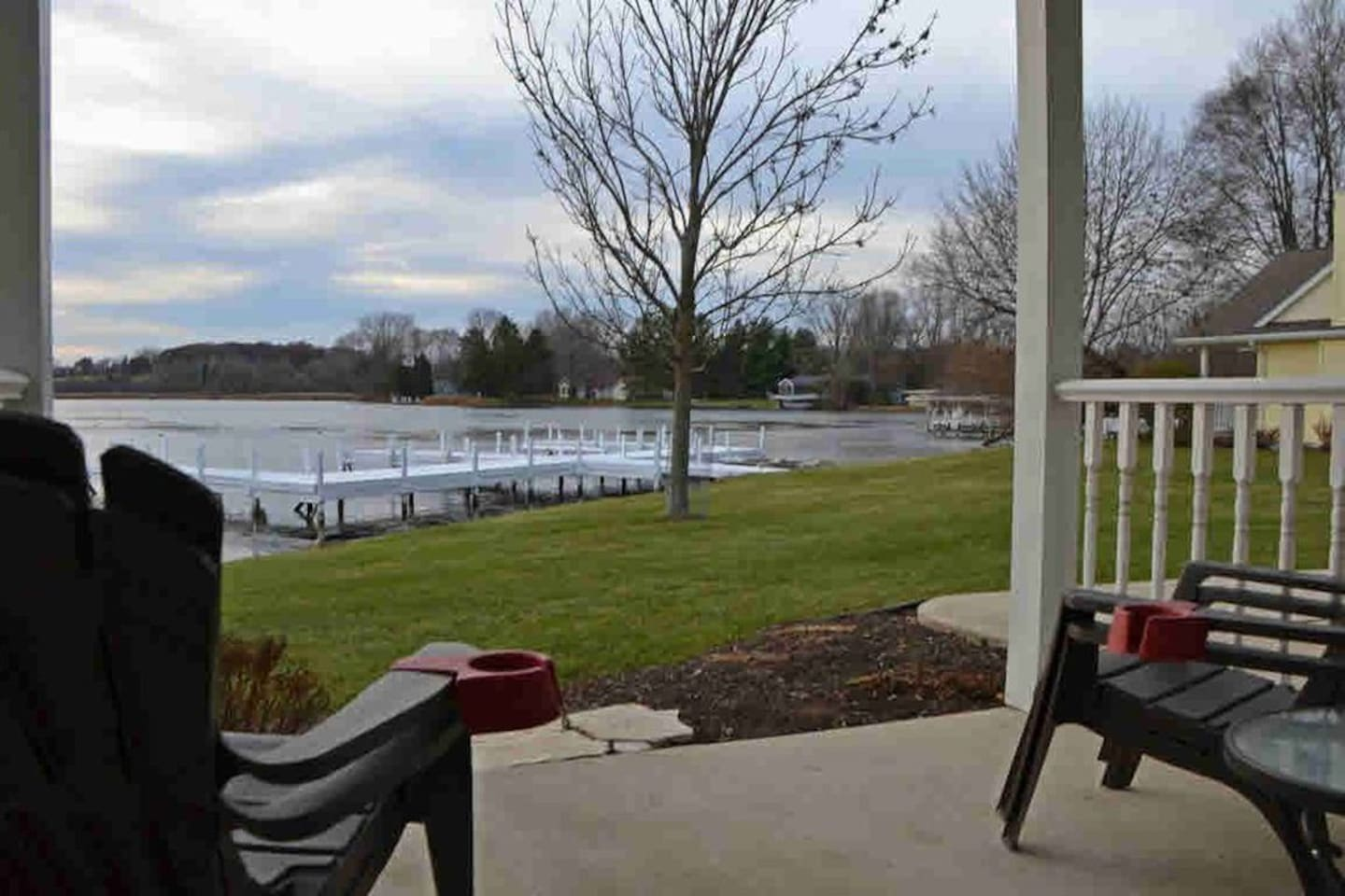Sit on the patio at On the Pond at Heron Point and enjoy the amazing views and sunset over the Mill Pond