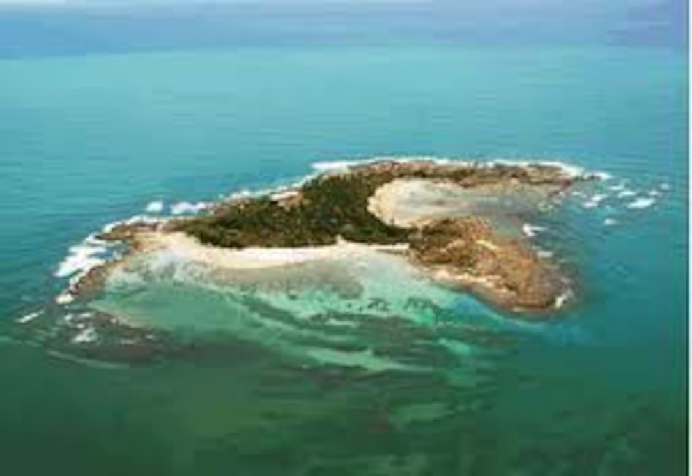 Vista Aérea da Ilha de Santo Aleixo, local de encontro de embarcações privadas.
