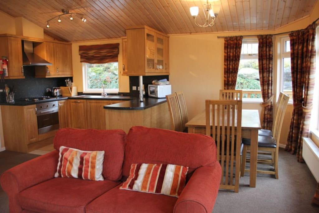 Park Lodge kitchen and lounge area, Lakes Cottage Holidays