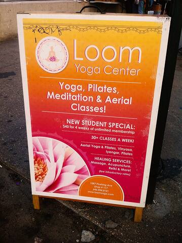 The famous Loom Center Building has a small shopping mall and the yoga center.