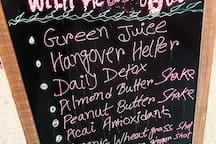 Vegan store has fresh juice bar. just 2 blocks from the apartment