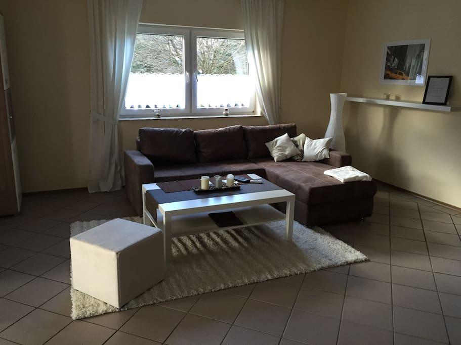 Großes Wohnzimmer mit Schlafcouch