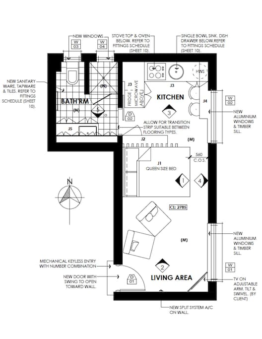 Glenelg South Studio floor plan.