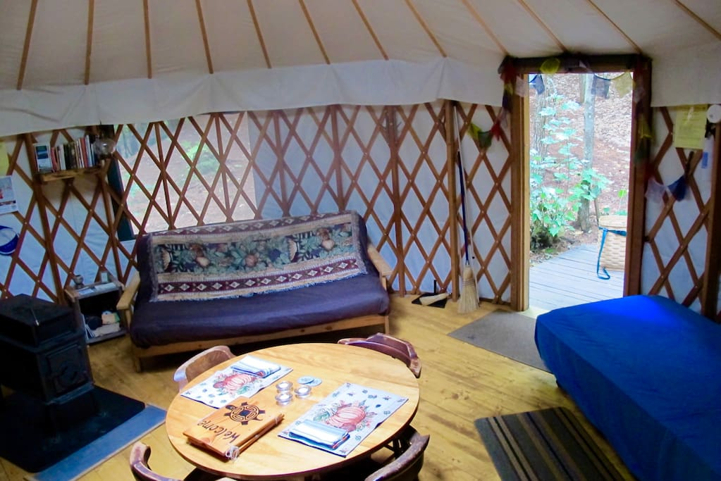 Wood stove in Yurt for your heating.