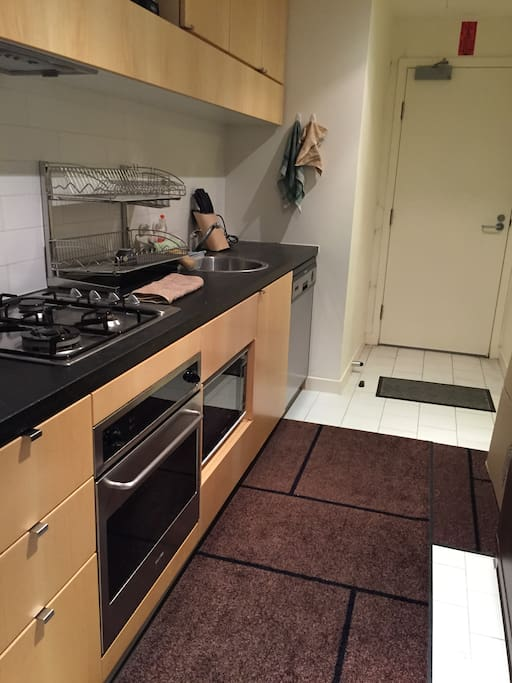 kitchen - equipped with oven, microwave, dishwasher