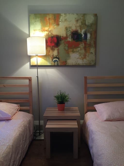 Twin beds - great for two friends and/or kids staying adjacent to parents rooms