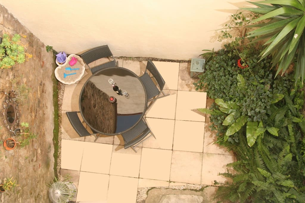 Garden courtyard with sand pit for kids