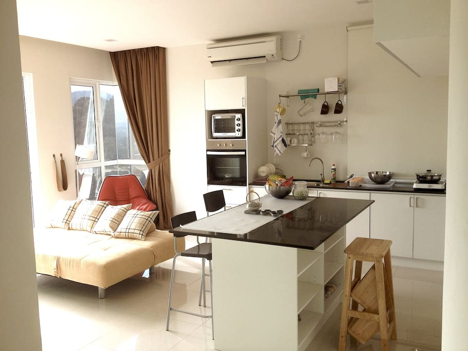 The open concept living & kitchen