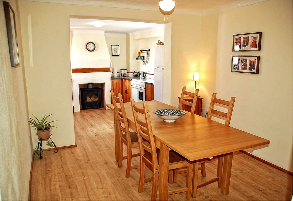 Dining room directly off kitchen with 5 ring cooker, dishwasher, large fridge freezer and everything else you might need.