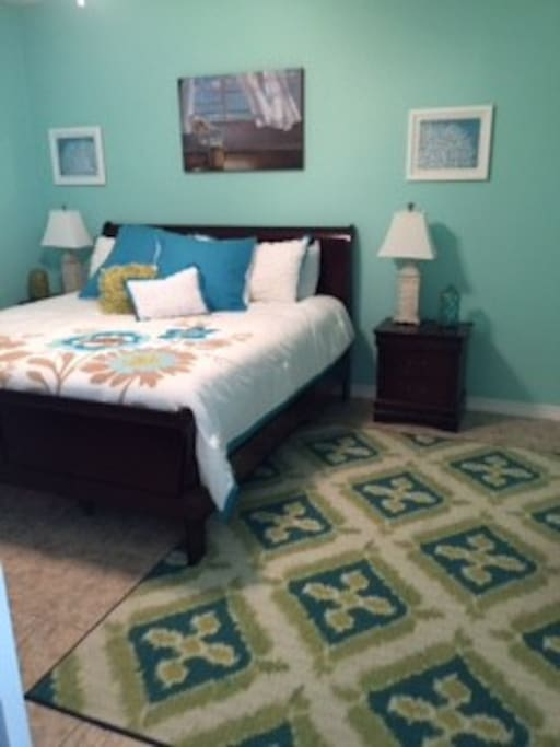 Master King large bedroom with TV, closet and adjoining bathroom Walk-in shower